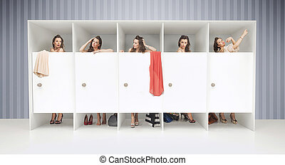 Five girls in changing rooms - Five young girls in changing...