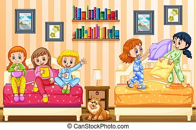 Five girls playing in bedroom