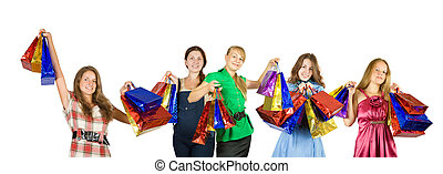 Five girls with shopping bags