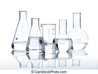 Five glass flasks with a clear liquid