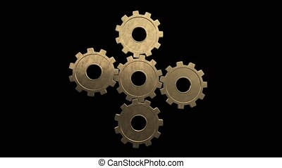 Five gold gears spinning. Black background. Alpha channel