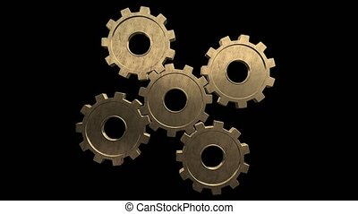 Five gold gears spinning . Black background. Alpha channel