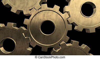 Five gold gears spinning . Black background. Alpha channel -...