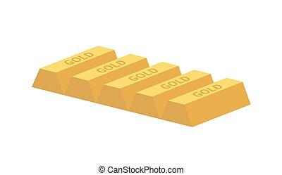 five gold ingots - Five gold ingots isolated on white...