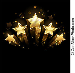 five gold stars - Five shining stars of gold foil on a black...