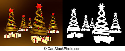 Five golden design pines and many gifts with alpha channel