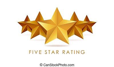 Five golden rating star vector illustration in white background