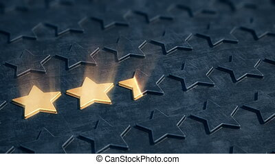 Five golden stars appear on the black relief surface. - The...