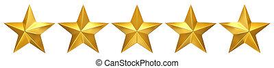Five golden stars, best rating - 3d render