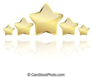 five golden stars with reflection in a row