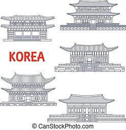 Five grand palaces of South Korea thin line symbol - Korean...