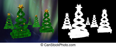 Five green design pines and golden balls with alpha channel