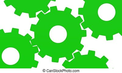 Five green gears rotate . White background. Alpha channel. Close up