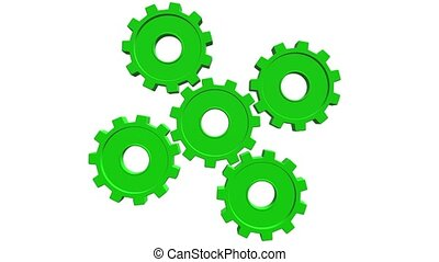 Five green gears spinning . White background. Alpha channel