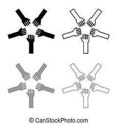 Five hands Group arms Many hands connecting Open palms People putting their hands together Stack hands concept unity icon outline set black grey color vector illustration flat style image