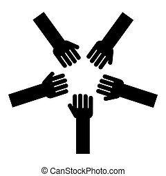 Five hands Group arms Many hands connecting Open palms People putting their hands together Stack hands concept unity icon black color vector illustration flat style image