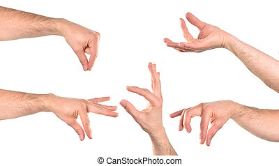 Five hands in various positions with the catch action