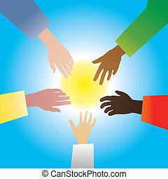 five hands of different races vector