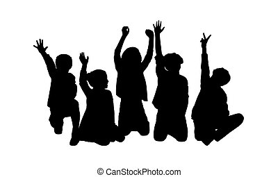 black silhouettes of five children about age 7-10 seated in a row on the floor face to the onlooker in different postures their hands in the air
