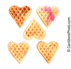 Five heart shaped waffles
