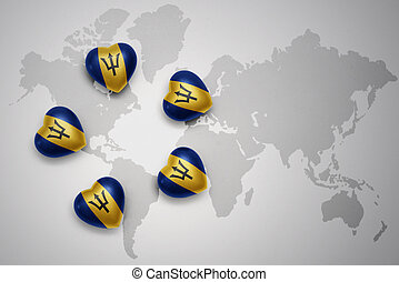 five hearts with national flag of barbados on a world map background
