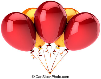 Five helium balloons red orange - Party balloons five ...