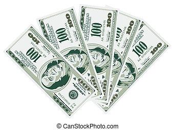 Five Hundred Dollar Bills Isolated on White Background, vector illustration