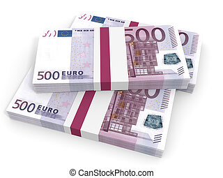 Five hundred euro banknotes background.