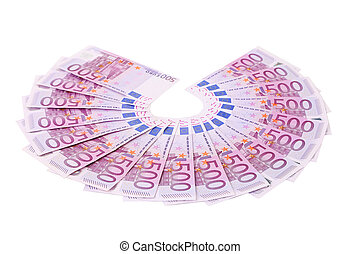 Five hundred Euro notes aligned in a fan. Isolated on a white background.