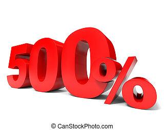 Five hundred percent off. Discount 500%. 3D illustration.