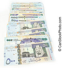 Five hundred Saudi riyals line with white background