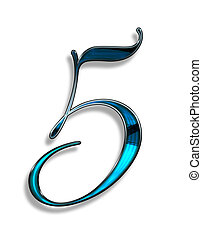 five, illustration of number with blur chrome effects over white background