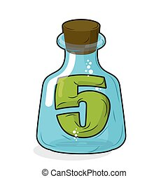 Five in magic jar. Figure 5 in laboratory bottle for tests and research. Glass bottle with a cork. Magic transparent bulb