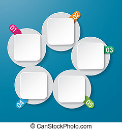 Five info paperlabels with numbers on the blue background. Eps 10 vector file.