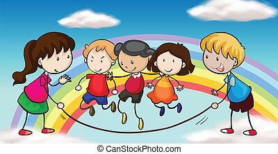 Five kids playing in front of a rainbow