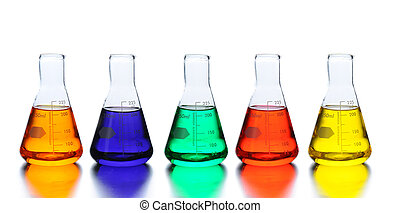 Five laboratory beakers with liquids of assorted colors. Closeup in horizontal format with reflections.