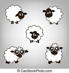 Five lambs - five sheep with a pensive look and big eyes