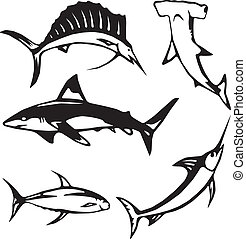 Five large ocean fish icons