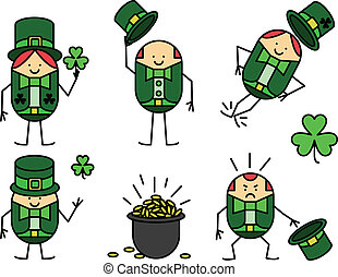Five leprechauns - Set of five leprechauns for St. Patrick's...