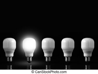 Five light bulbs in line