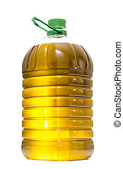 Five litre of olive oil bottle isolated on a white...