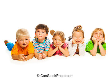 Five little isolated on white kids
