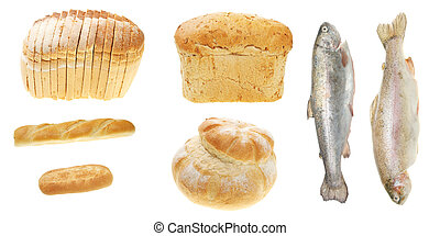 Five loaves and two fishes isolated on white