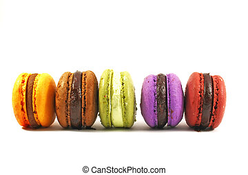 row of five macaroons on white background