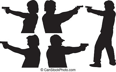 Gun Shooting Silhouettes - Five Male and Female Gun Shooting...