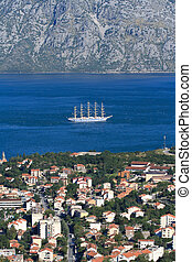 sailing ship in the Bay of Kotor view from above. Montenegro