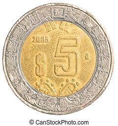 five mexican peso coin