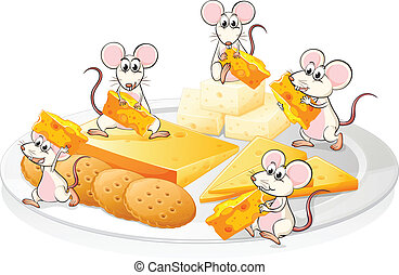 Five mice with cheese and biscuits - Illustration of the...