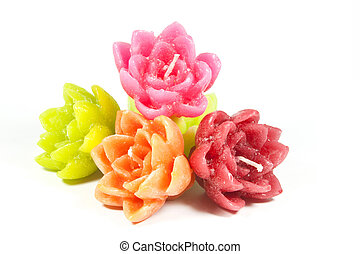 Five Mini Candles in the Mould of Flowers