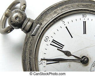 five minute till twelve - vintage silver clock show five...